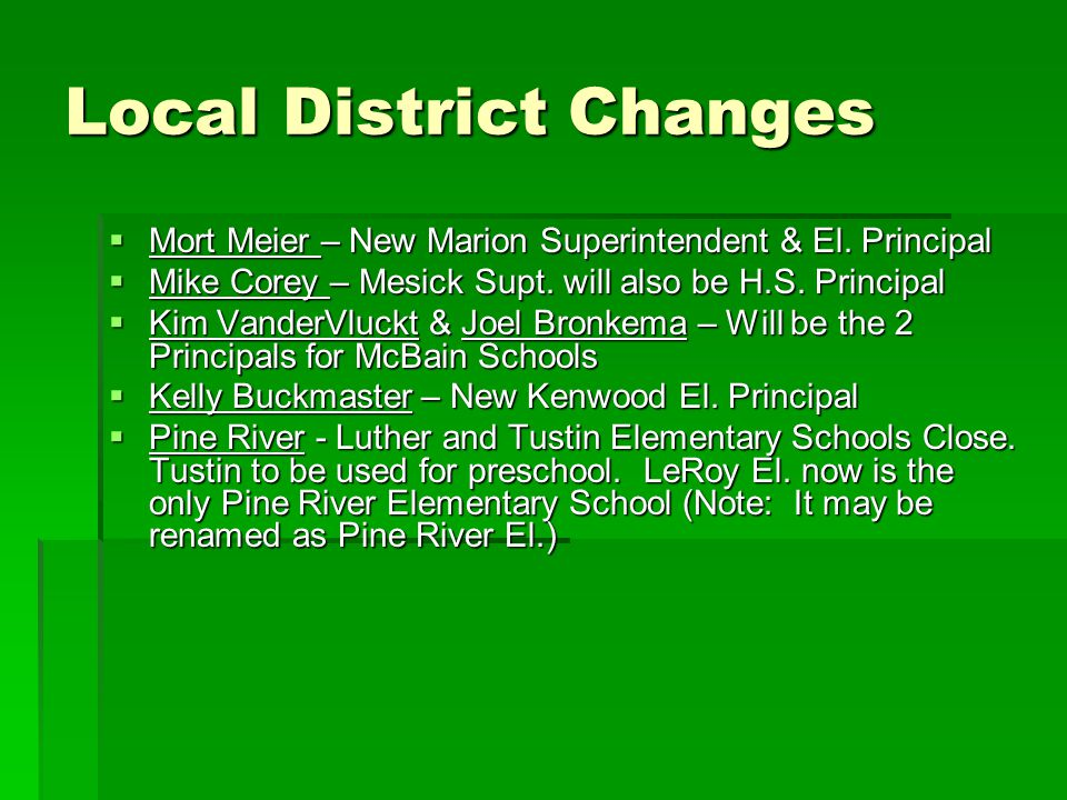 Local District Changes