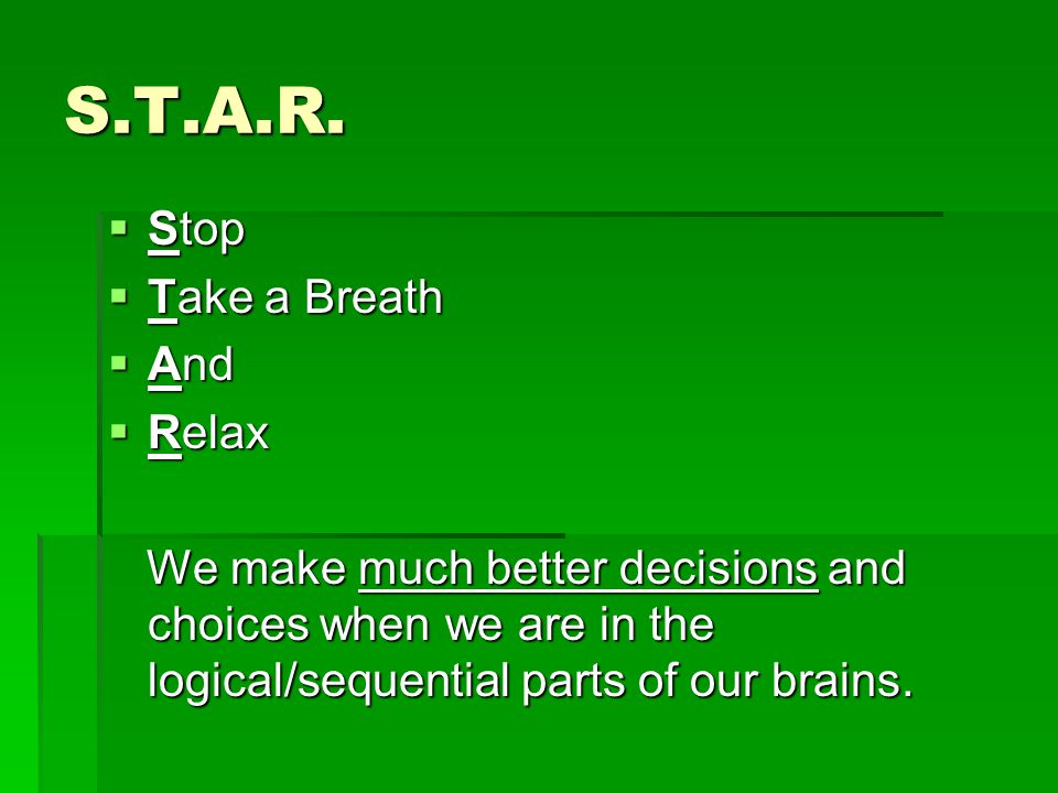 S.T.A.R. Stop Take a Breath And Relax