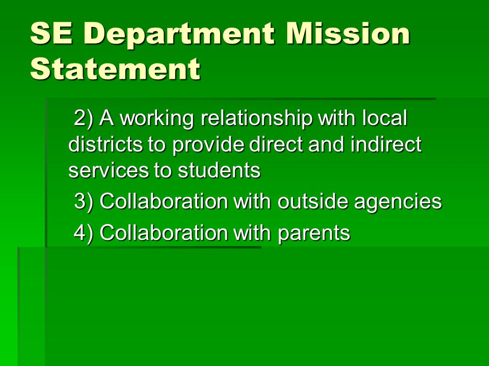 SE Department Mission Statement