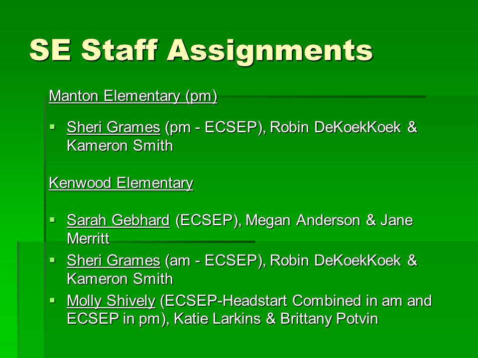 SE Staff Assignments Manton Elementary (pm)
