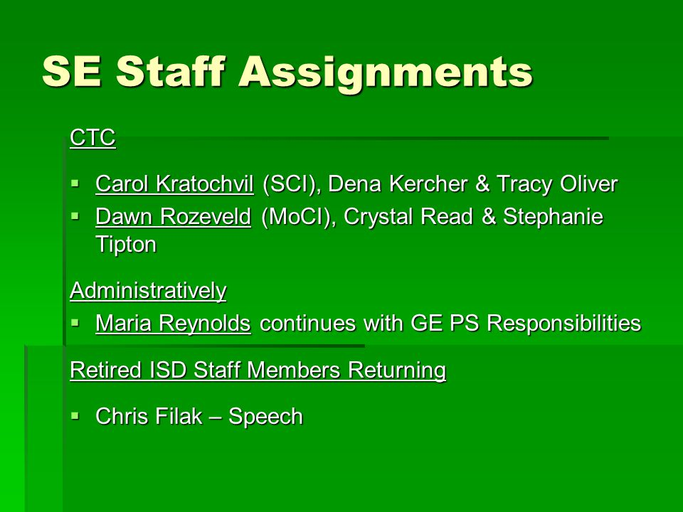 SE Staff Assignments CTC
