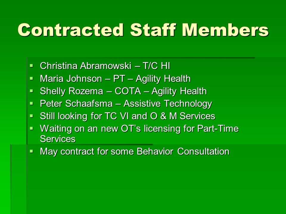 Contracted Staff Members