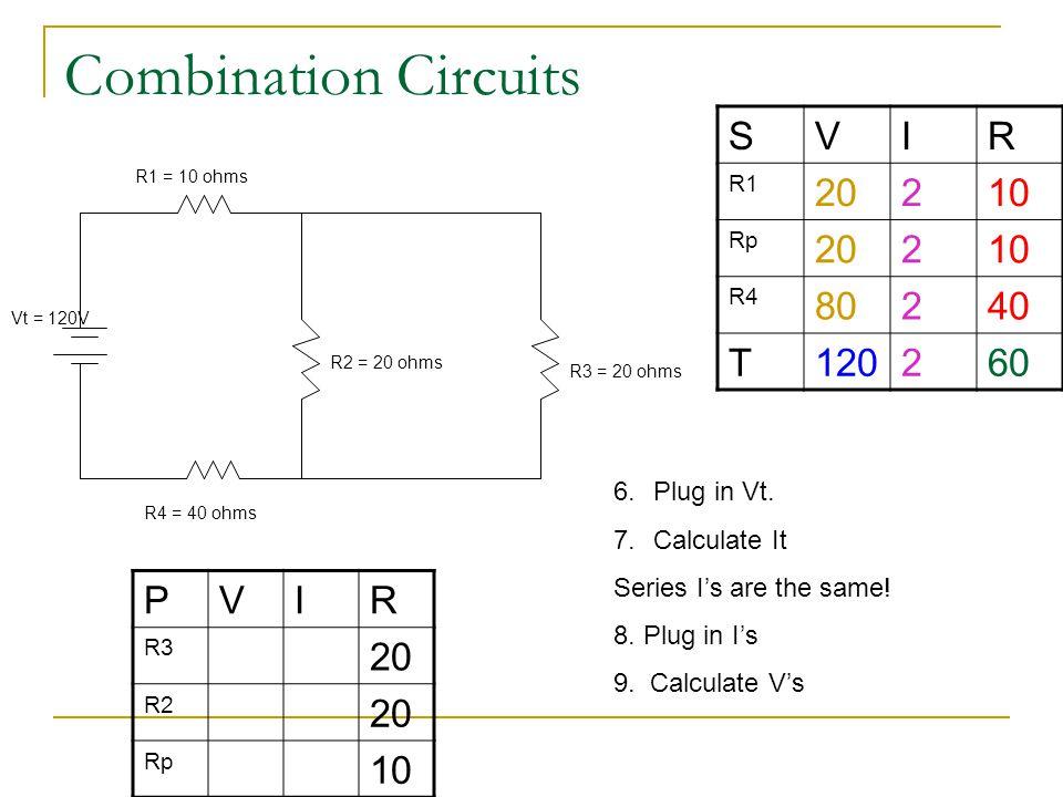 Combination Circuits S V I R 20 2 10 80 40 T 120 60 P V I R 20 10