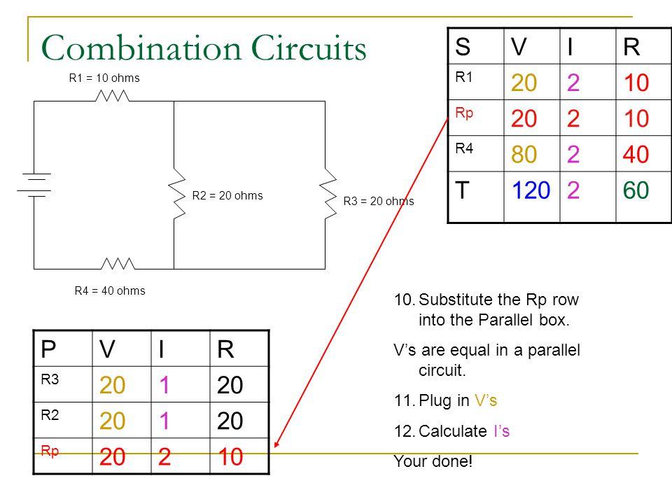 Combination Circuits S V I R 20 2 10 80 40 T 120 60 P V I R 20 1 2 10
