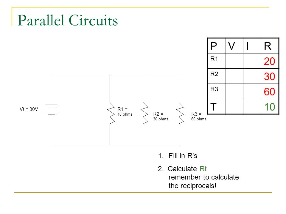 Parallel Circuits P V I R 20 30 60 T 10 Fill in R's