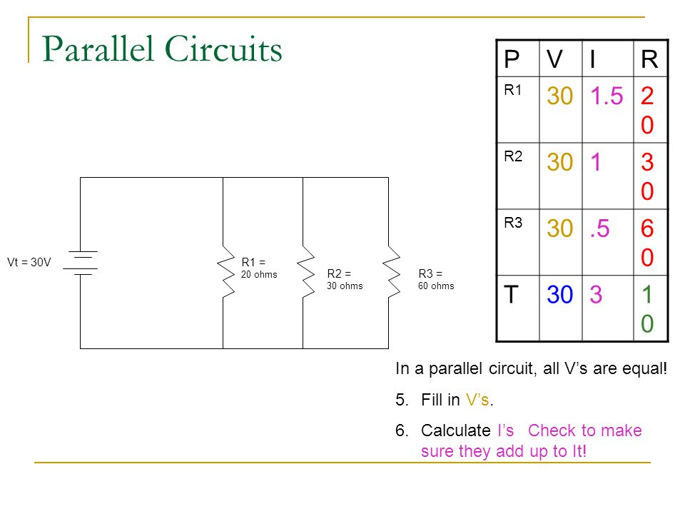 Parallel Circuits P V I R 30 1.5 20 1 .5 60 T 3 10