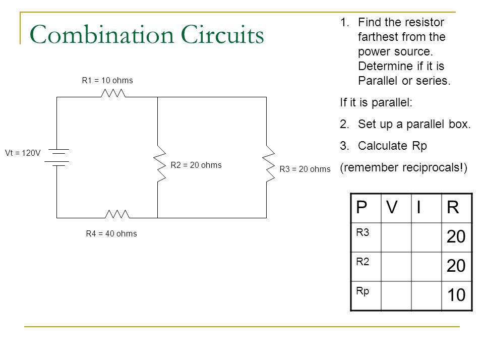 Combination Circuits P V I R 20 10