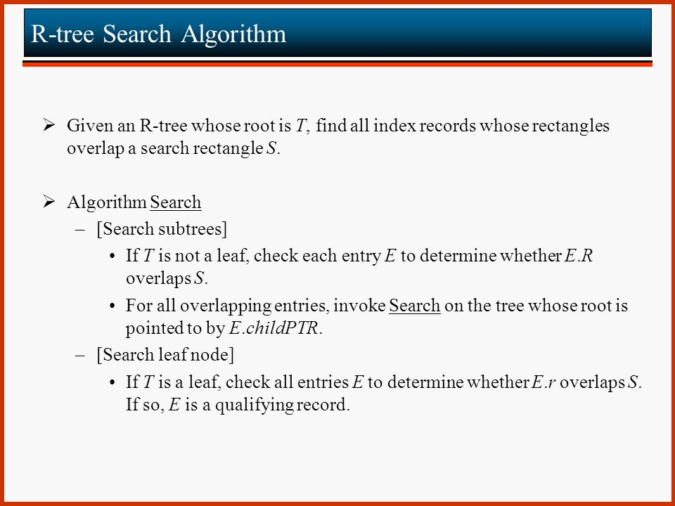 R-tree Search Algorithm