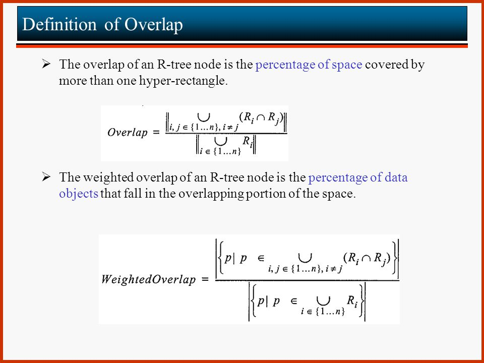Definition of Overlap The overlap of an R-tree node is the percentage of space covered by more than one hyper-rectangle.