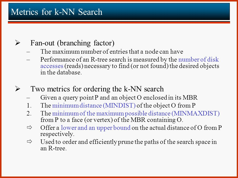 Metrics for k-NN Search