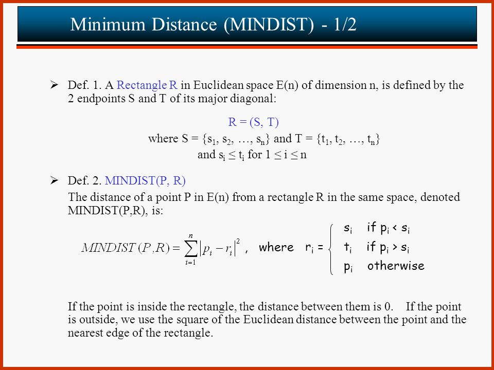 Minimum Distance (MINDIST) - 1/2