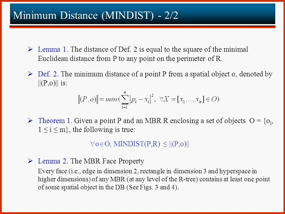 Minimum Distance (MINDIST) - 2/2