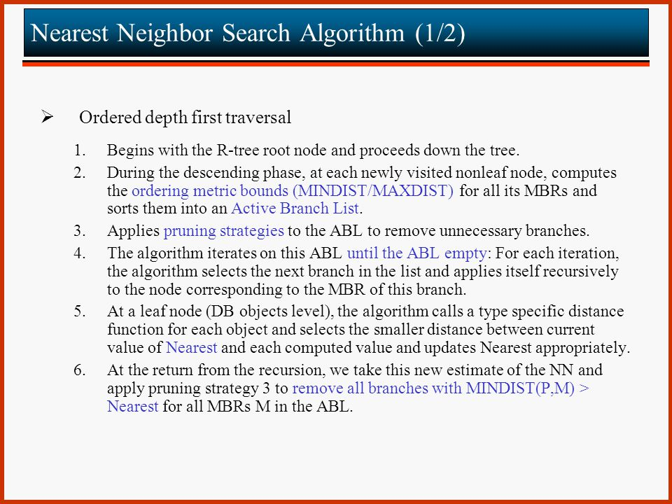 Nearest Neighbor Search Algorithm (1/2)