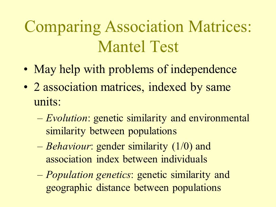 Comparing Association Matrices: Mantel Test