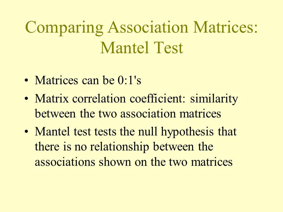Comparing Association Matrices: Mantel Test