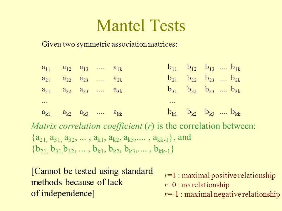 Mantel Tests Given two symmetric association matrices: a11 a12 a13 .... a1k b11 b12 b13 .... b1k.