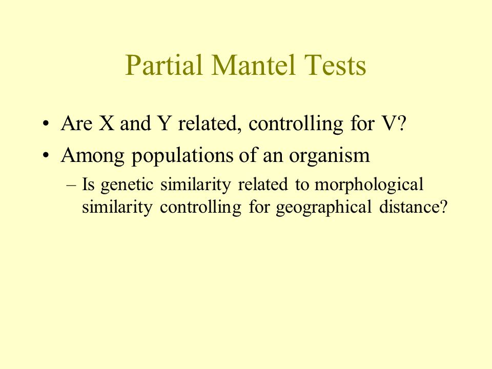 Partial Mantel Tests Are X and Y related, controlling for V
