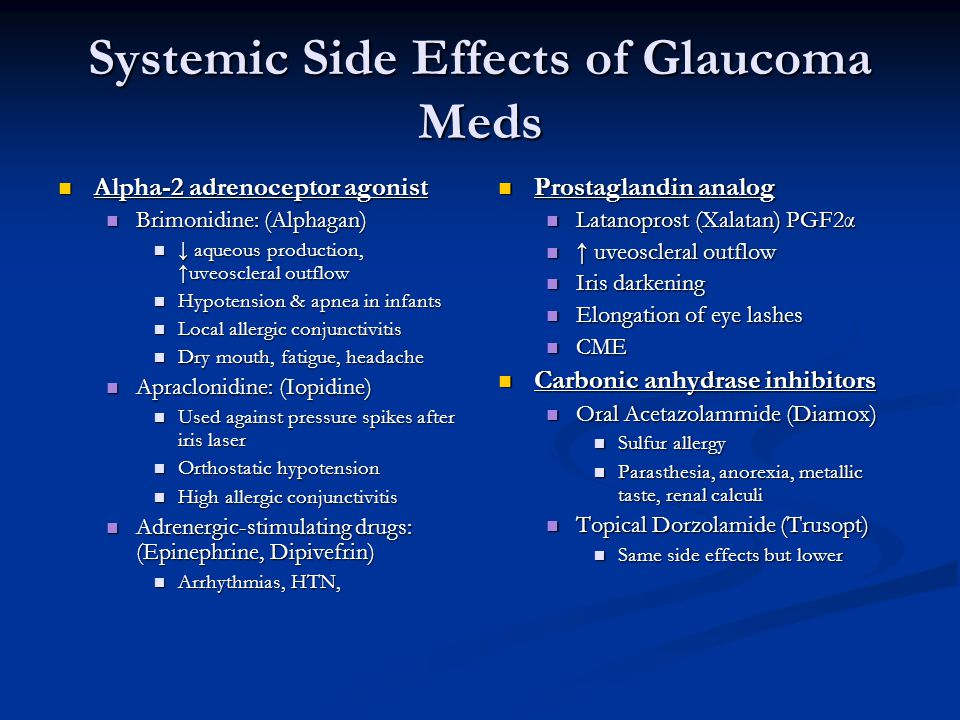 Systemic Side Effects of Glaucoma Meds