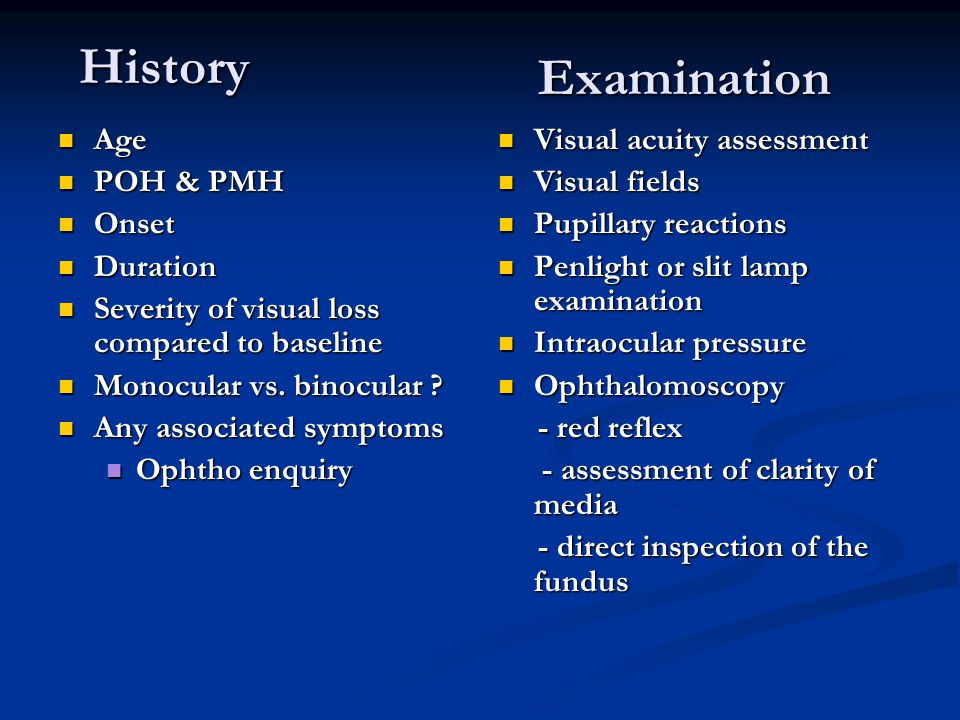 History Examination Age POH & PMH Onset Duration