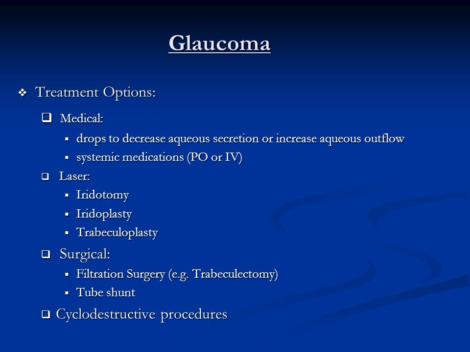 Glaucoma Medical: Treatment Options: Surgical:
