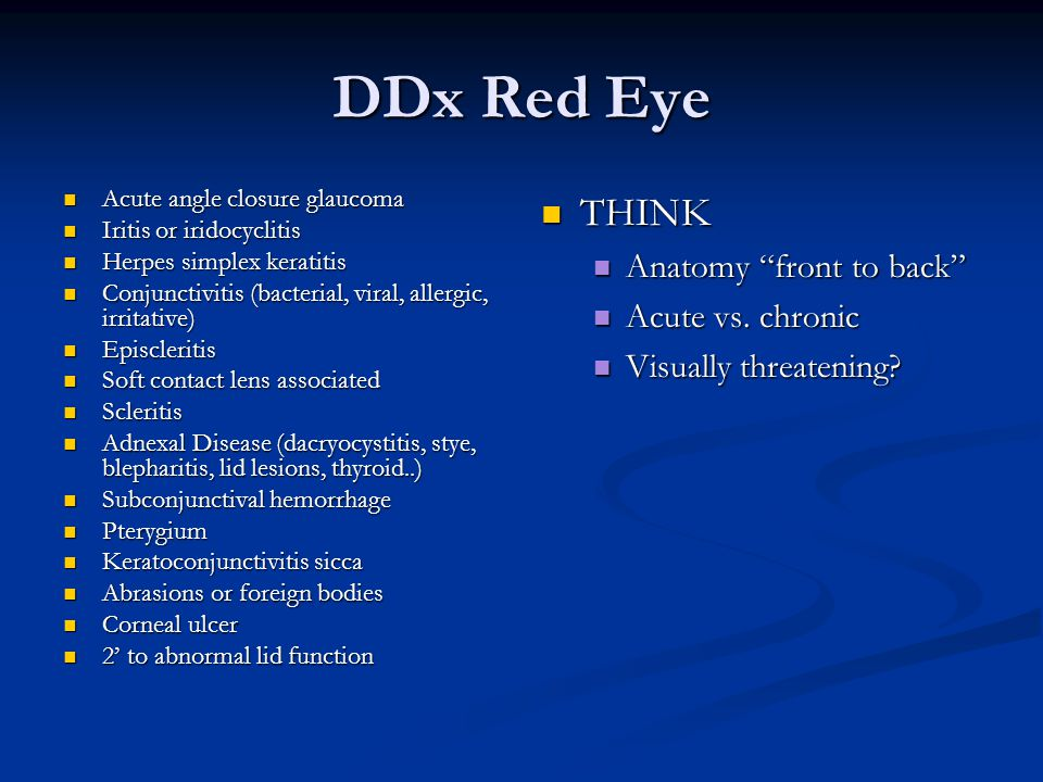 DDx Red Eye THINK Anatomy front to back Acute vs. chronic