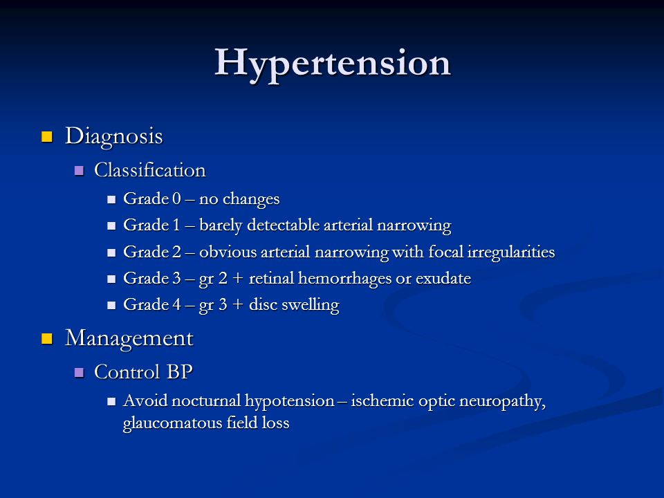 Hypertension Diagnosis Management Classification Control BP