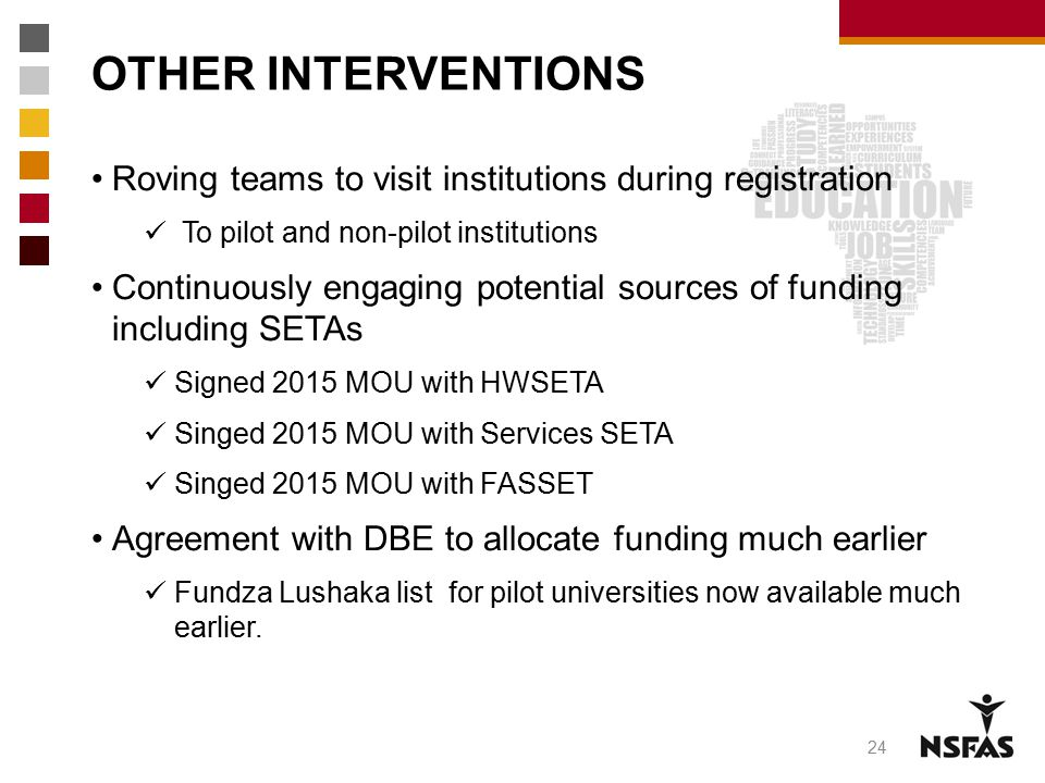 OTHER INTERVENTIONS Roving teams to visit institutions during registration. To pilot and non-pilot institutions.