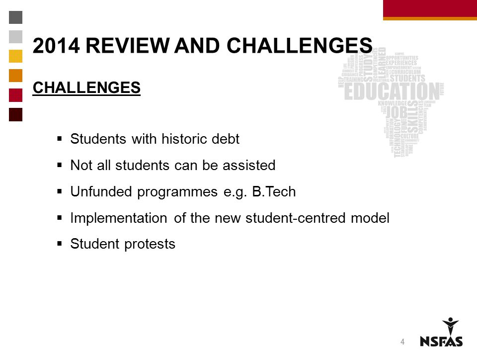 2014 REVIEW AND CHALLENGES CHALLENGES Students with historic debt