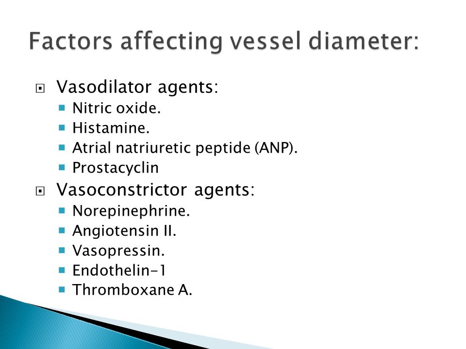 Factors affecting vessel diameter: