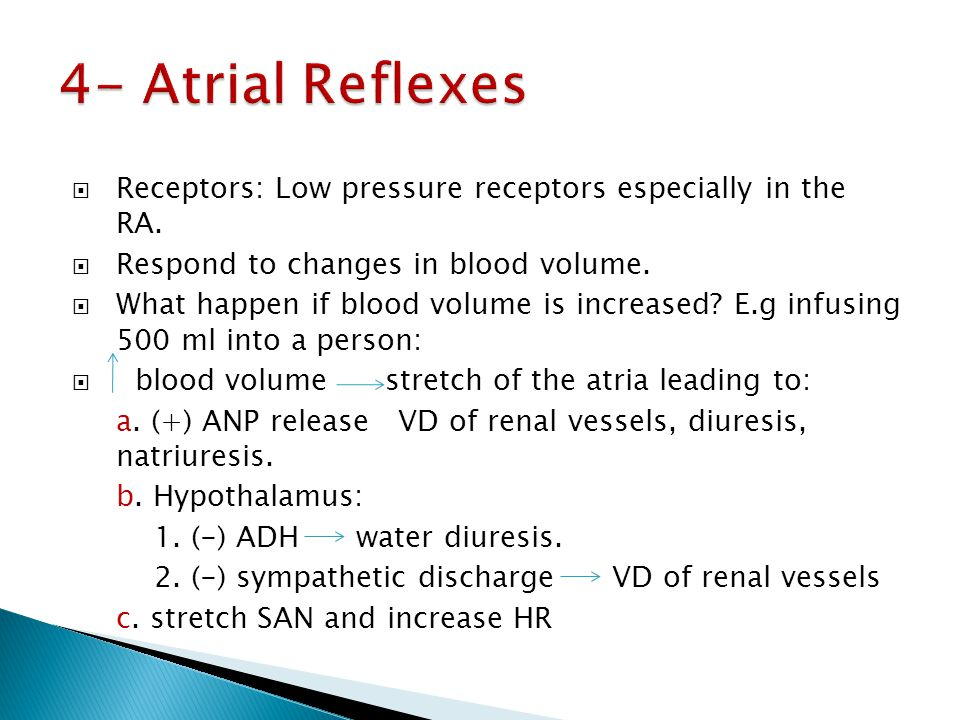4- Atrial Reflexes Receptors: Low pressure receptors especially in the RA. Respond to changes in blood volume.