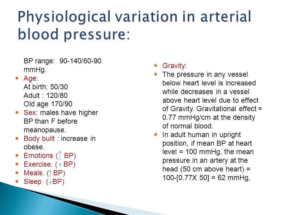 Physiological variation in arterial blood pressure: