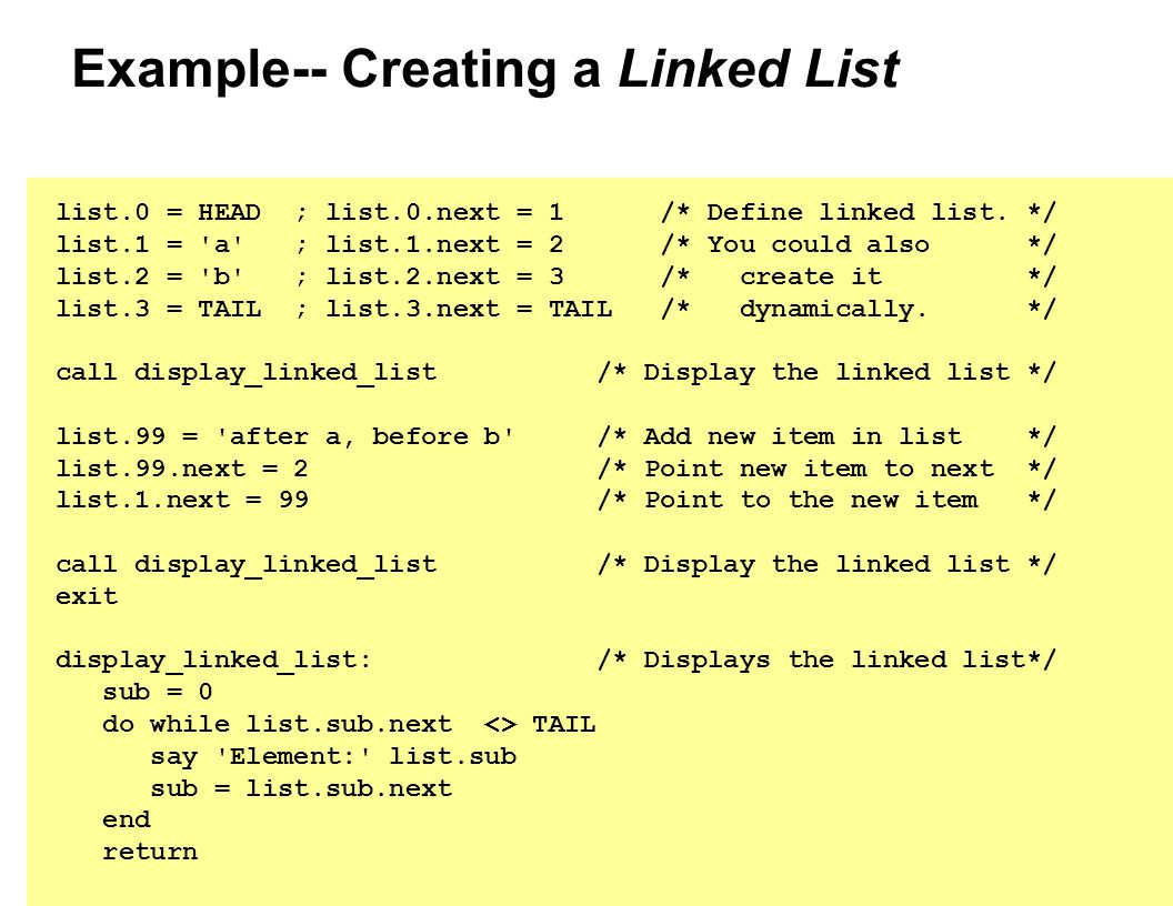 Example-- Creating a Linked List