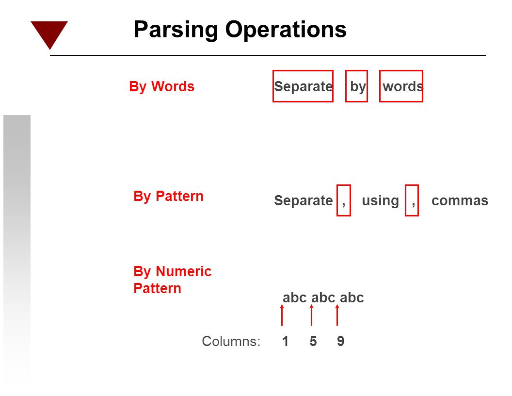 Parsing Operations By Words Separate by words By Pattern