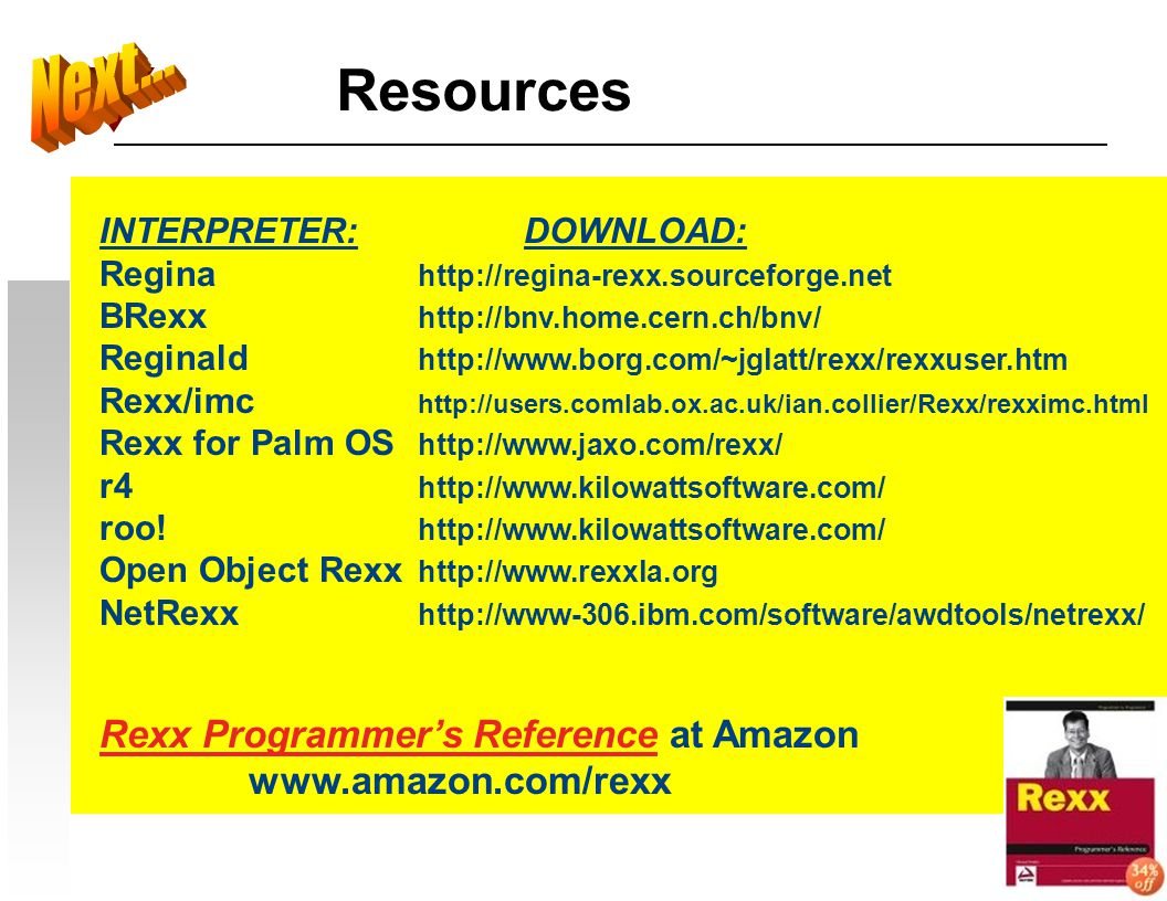 Resources Next... Rexx Programmer's Reference at Amazon