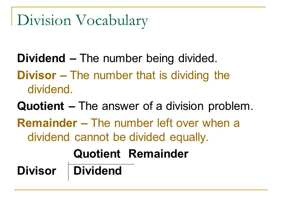 Division Vocabulary Dividend – The number being divided.