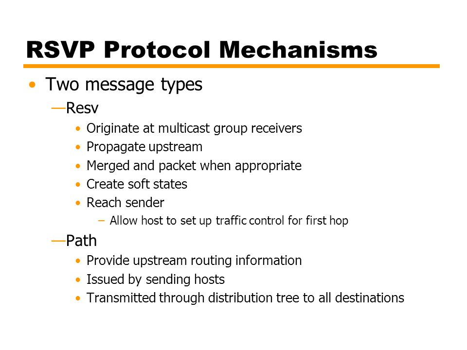 RSVP Protocol Mechanisms