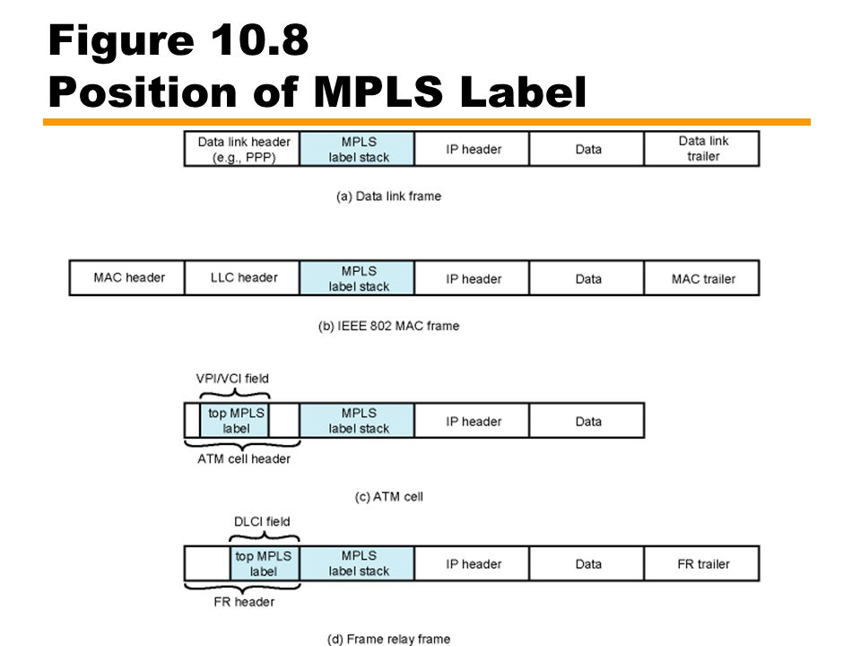 Figure 10.8 Position of MPLS Label