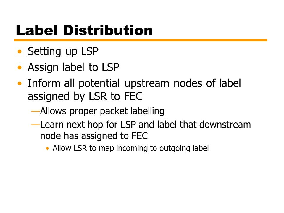 Label Distribution Setting up LSP Assign label to LSP