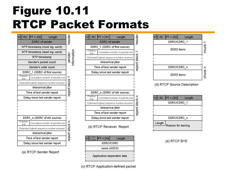 Figure 10.11 RTCP Packet Formats