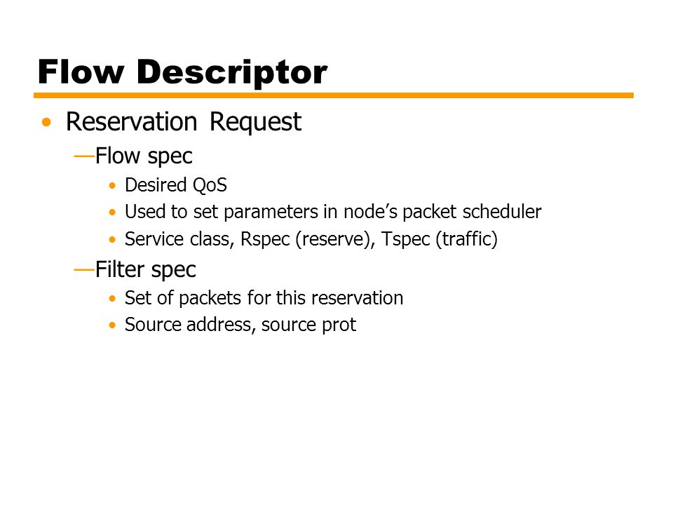 Flow Descriptor Reservation Request Flow spec Filter spec Desired QoS