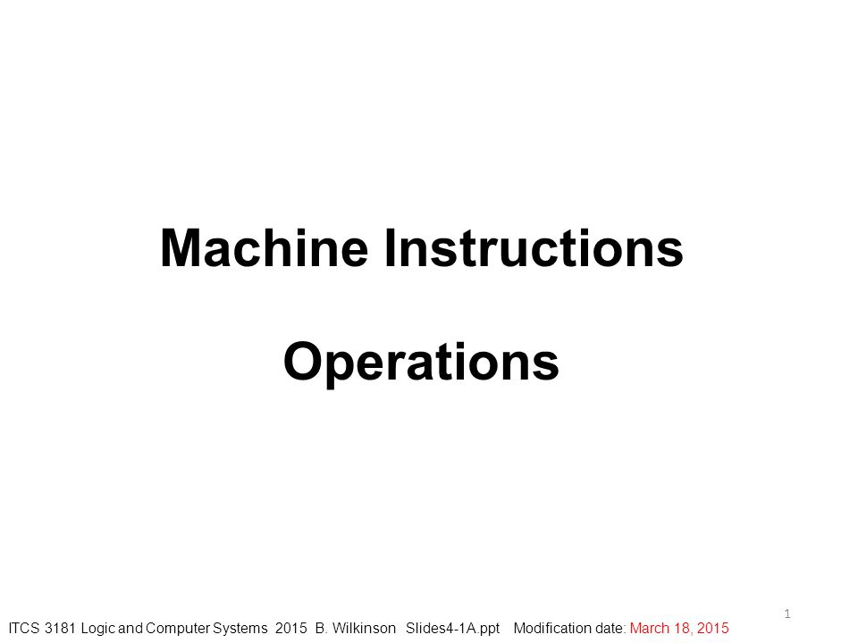 Machine Instructions Operations