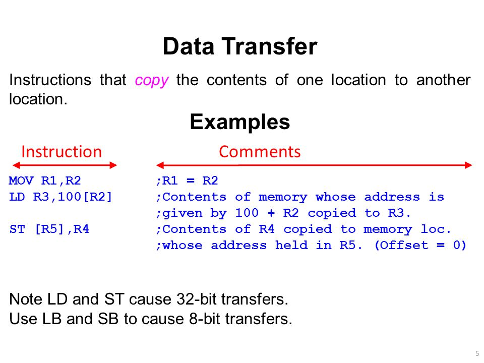 Data Transfer Examples Instruction Comments