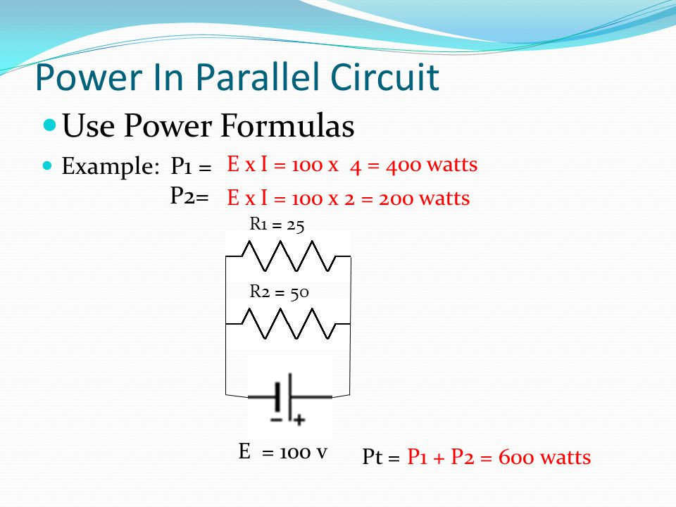 Power In Parallel Circuit
