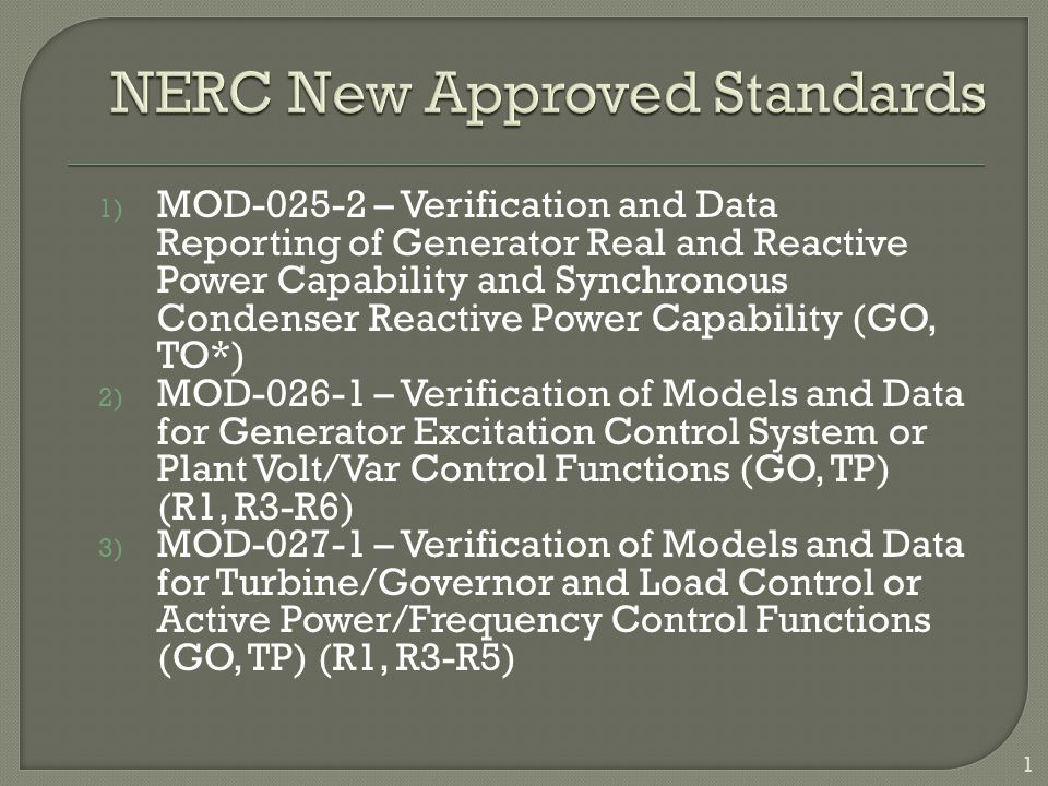 NERC New Approved Standards