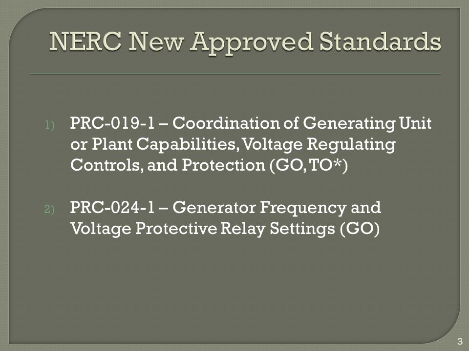 New Approved Standards Implementation Schedule