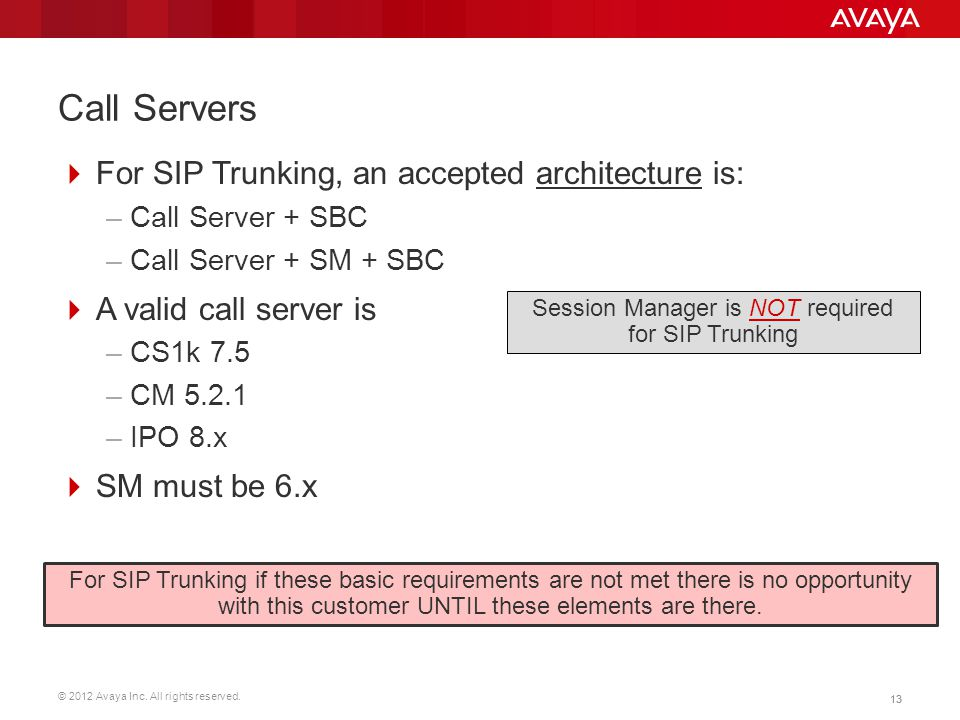 Session Manager is NOT required for SIP Trunking