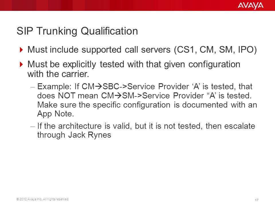 SIP Trunking Qualification
