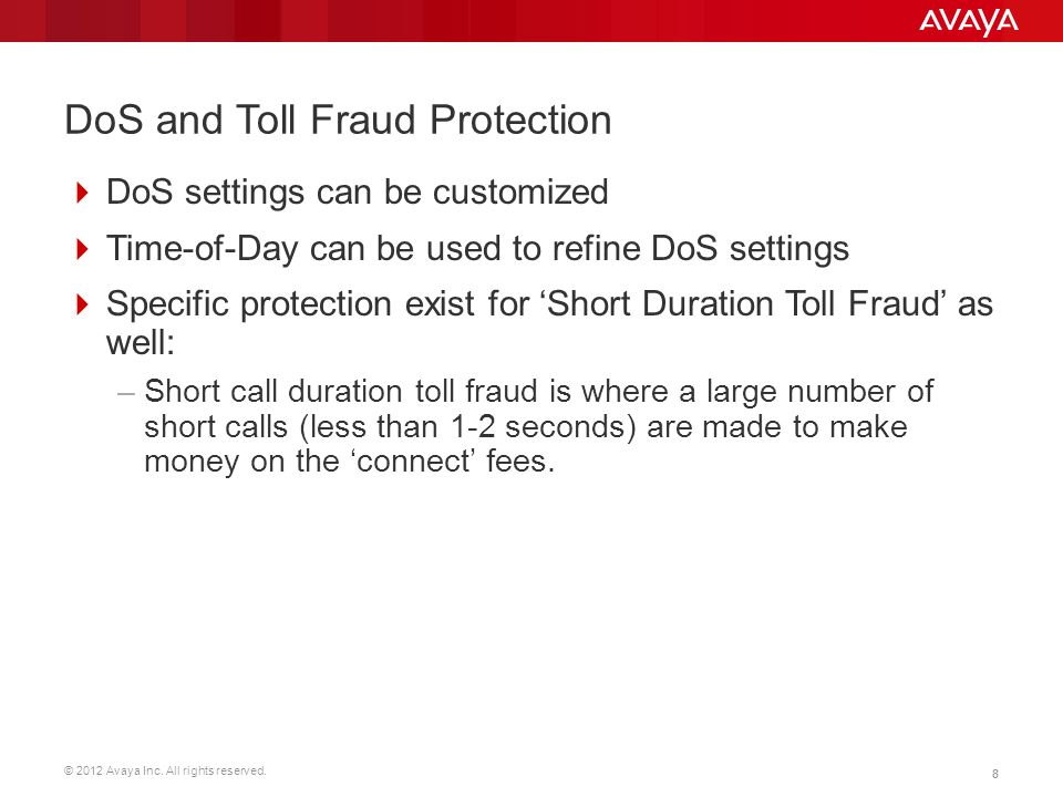 DoS and Toll Fraud Protection