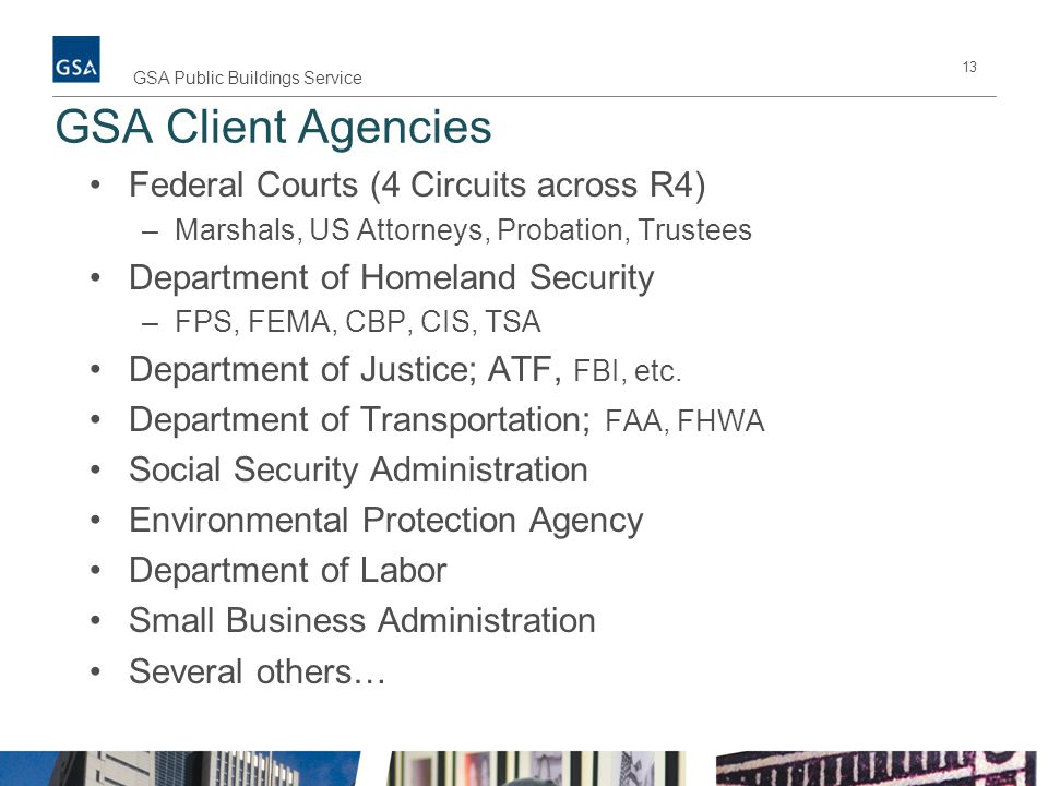 GSA Client Agencies Federal Courts (4 Circuits across R4)