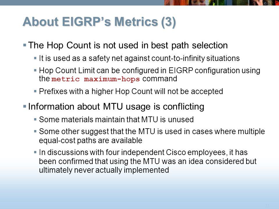 About EIGRP's Metrics (3)